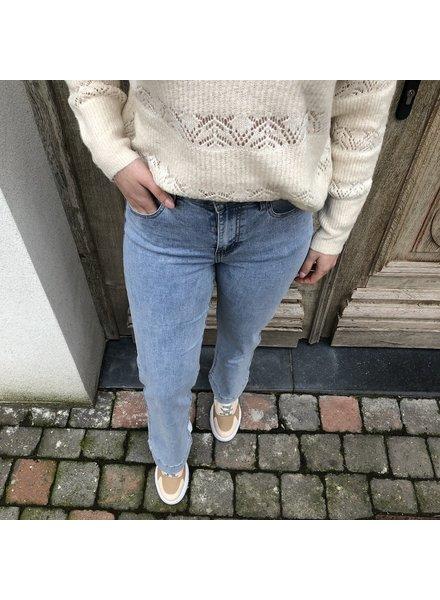 light blue flared jeans