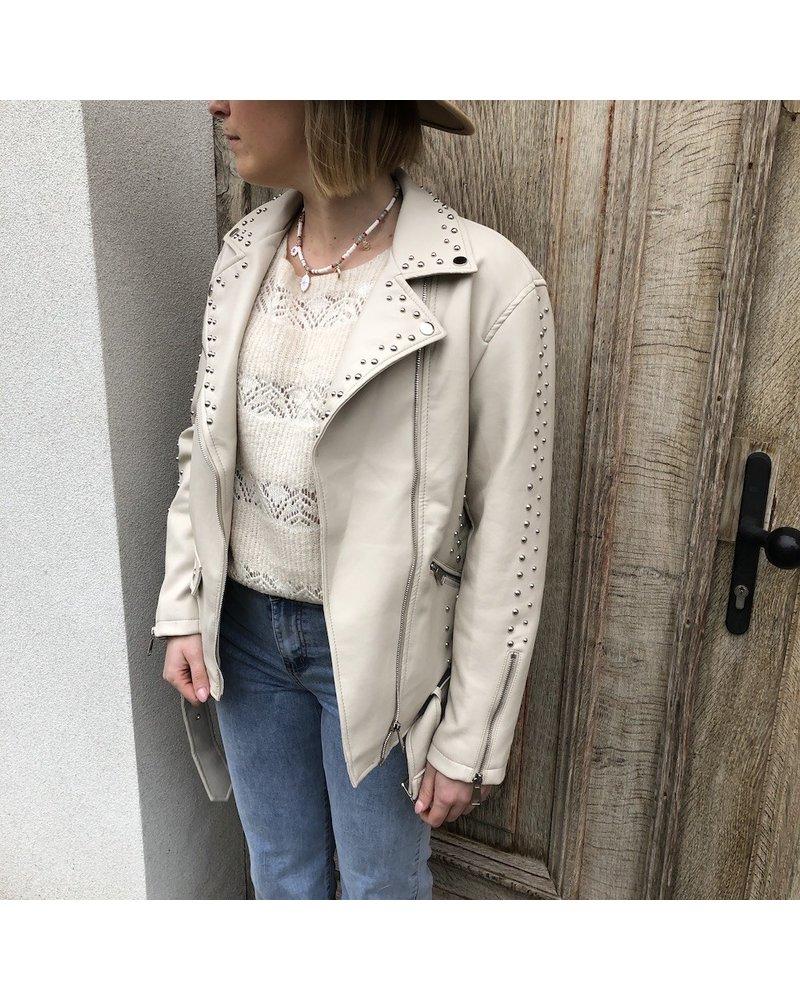 Oversized leather jacket beige
