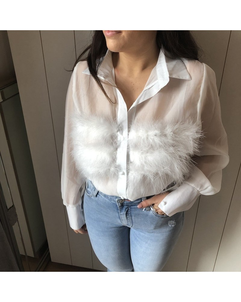 White feathered blouse