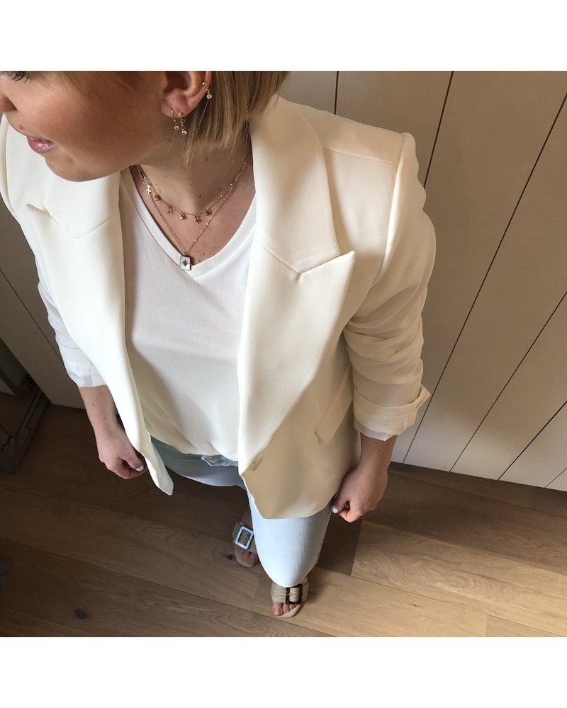 T-shirt wit met V