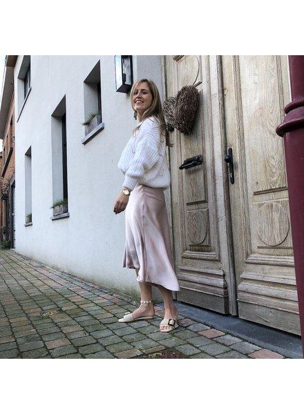 Soft pink satin skirt