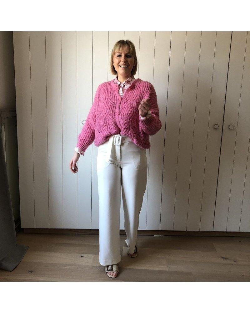 Pantalon wit met riem