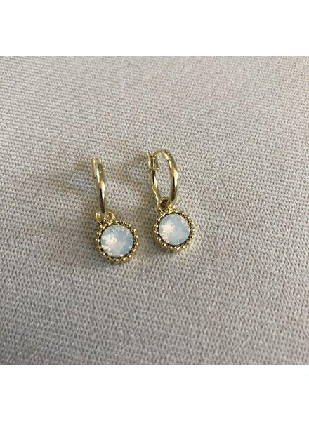 Earrings gold - white drop