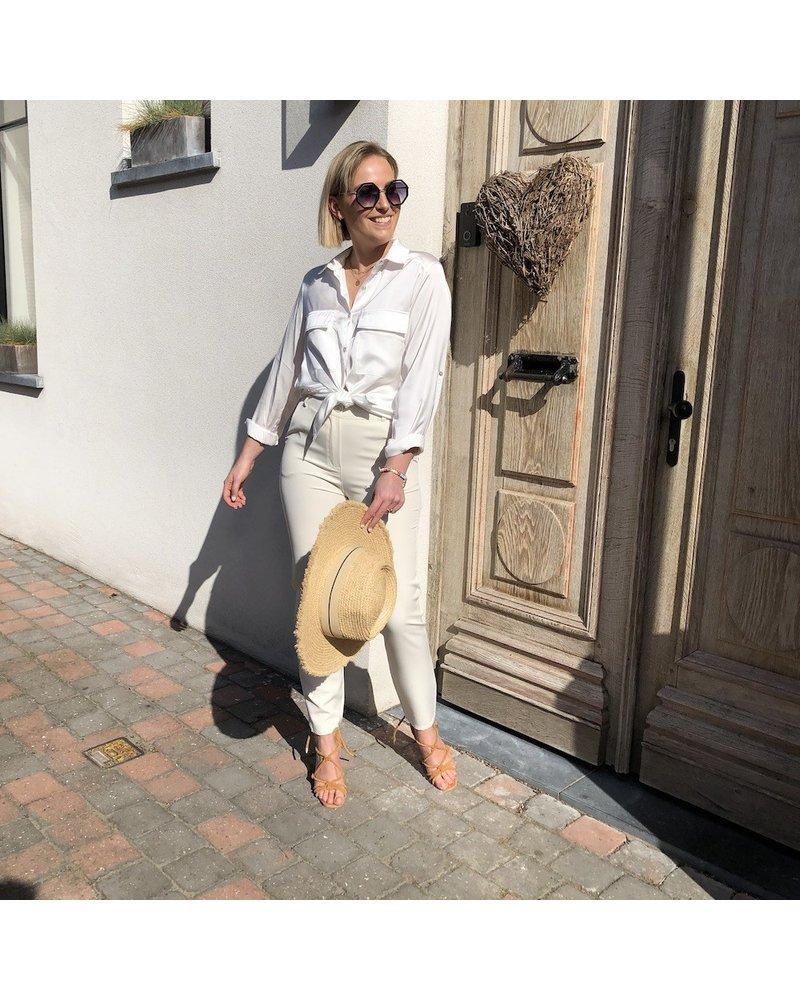 White shiny blouse