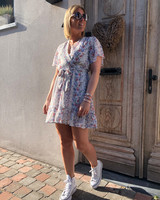 Floral dress white/blue