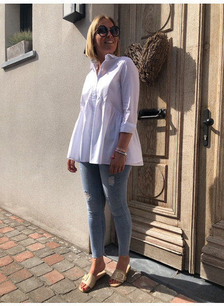 Witte popeline bloes