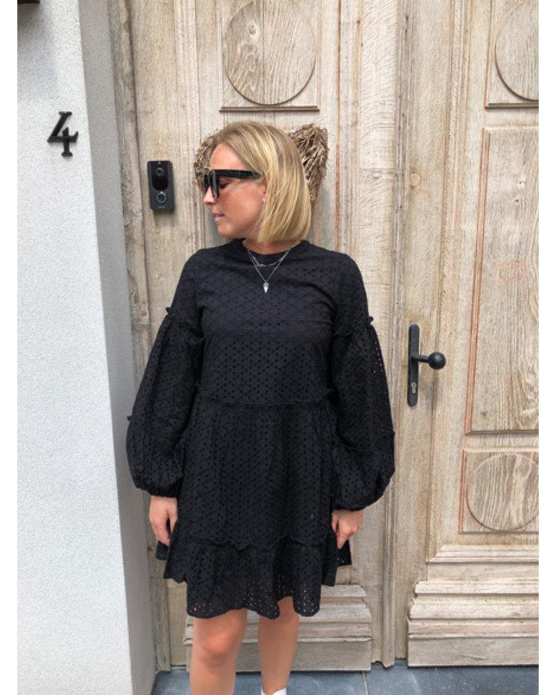 NA-KD anglaise balloon sleeve dress black