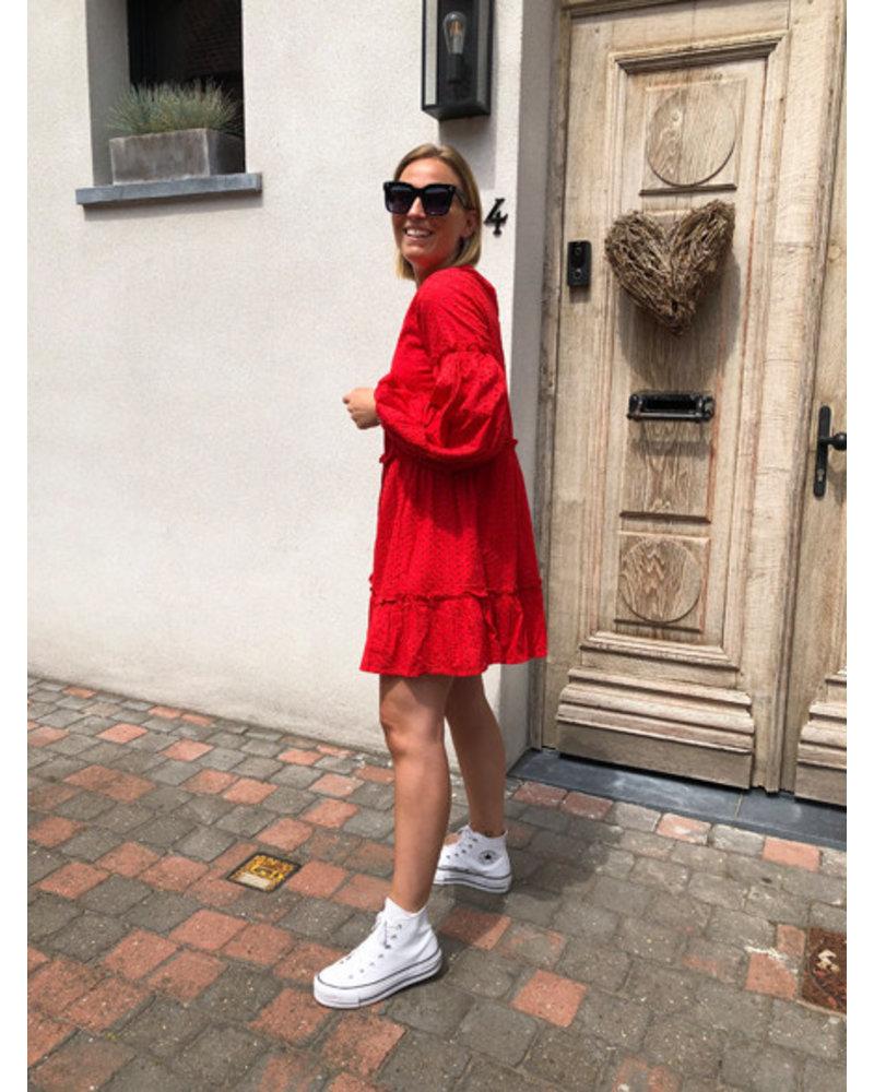 NA-KD anglaise balloon sleeve dress red