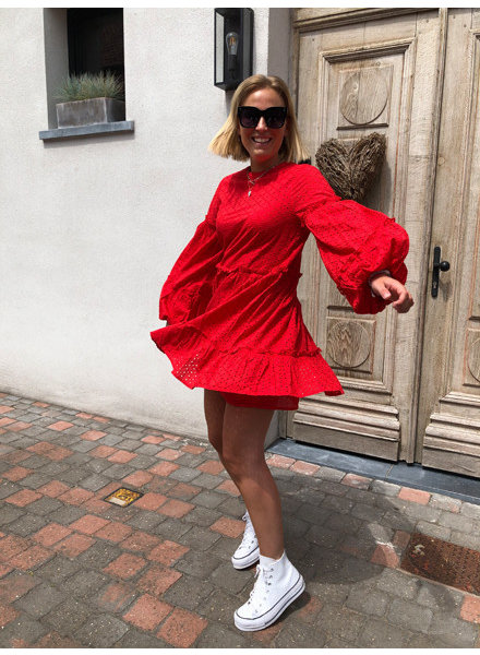 NA-KD anglaise balloon sleeve dress red