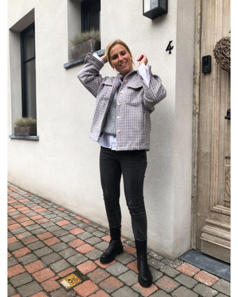 Checkered jacket lila