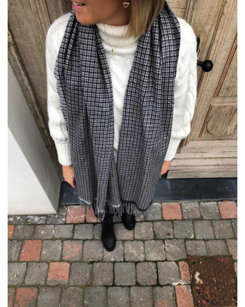 Carreaux sjaal zwart