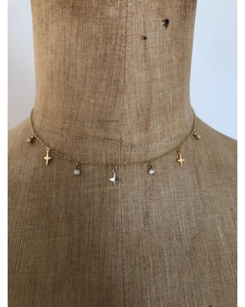 Necklace diamonds & stars gold