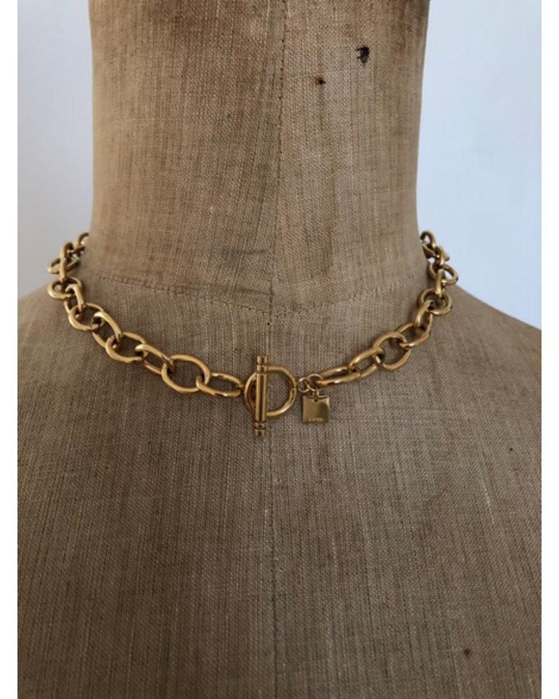 Big lock necklace gold
