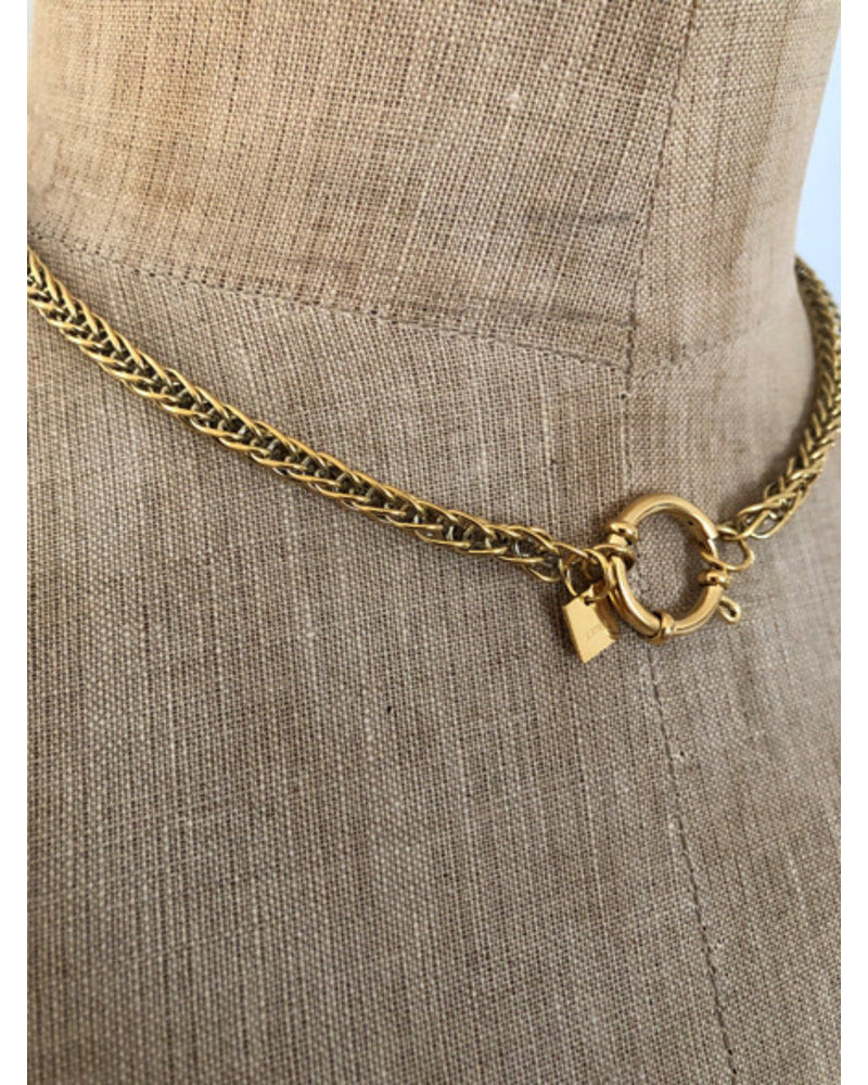 Small lock necklace gold