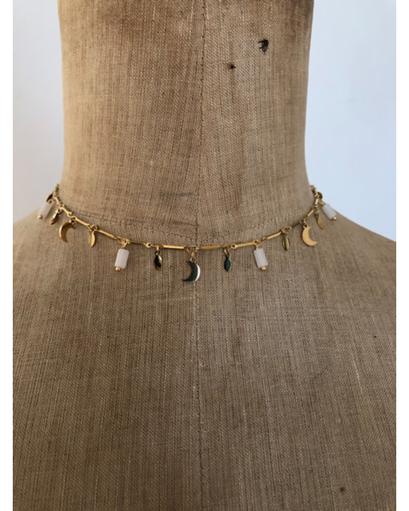 Moon necklace white