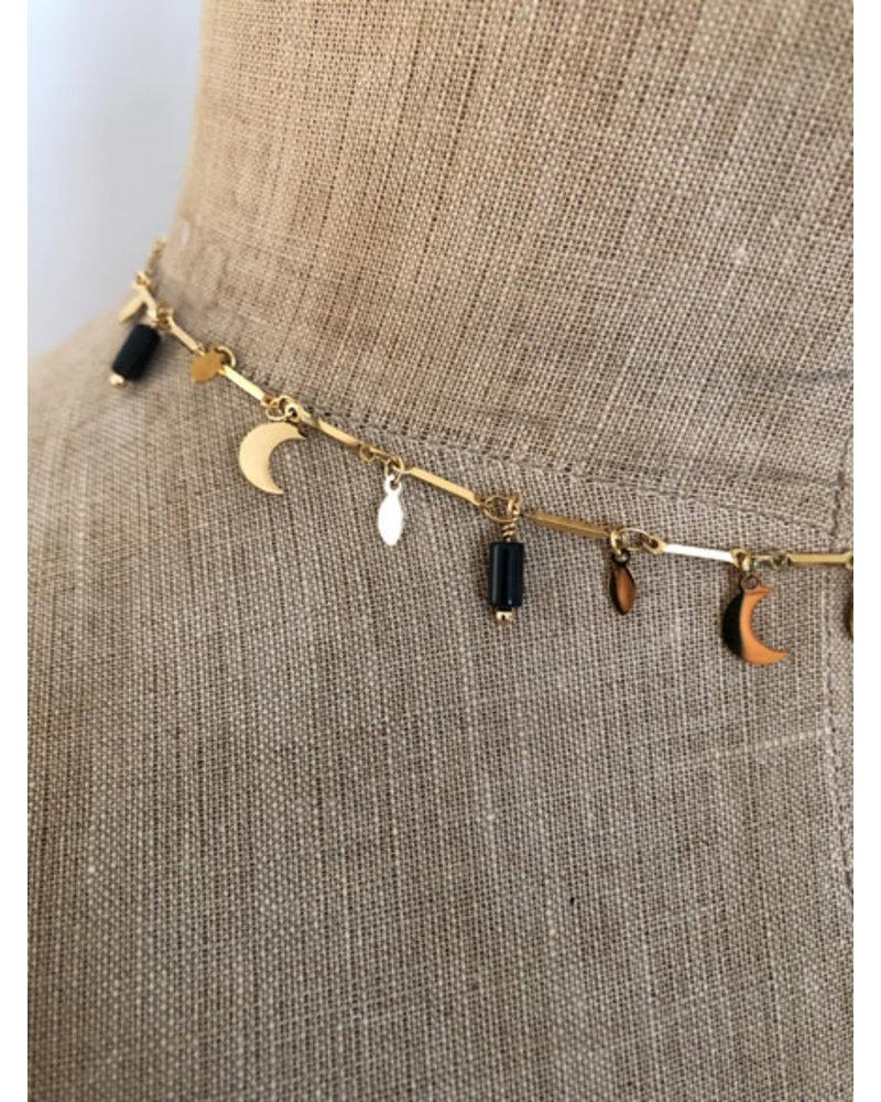 Moon necklace black