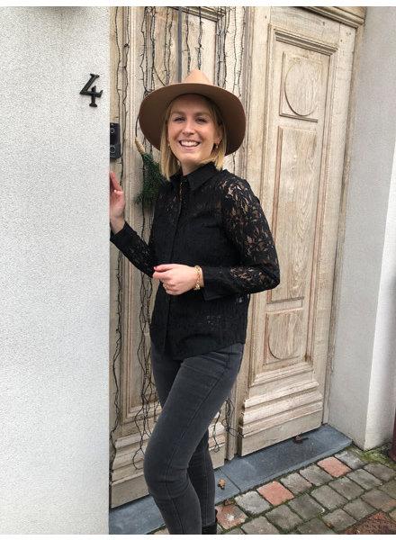 Tiffany lace blouse black