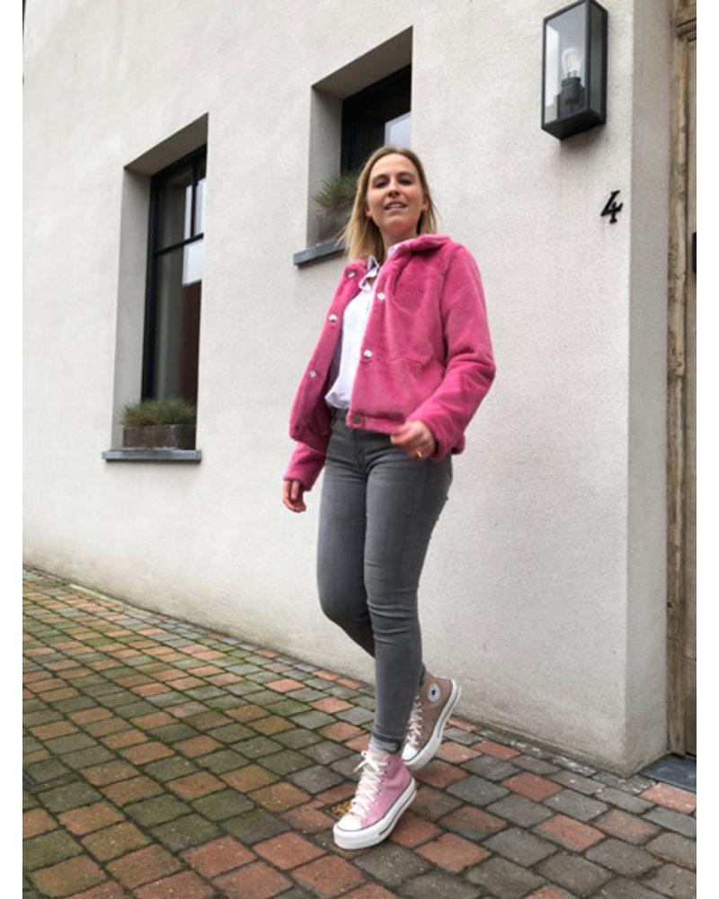 Julia faux-fur jacket fuchsia