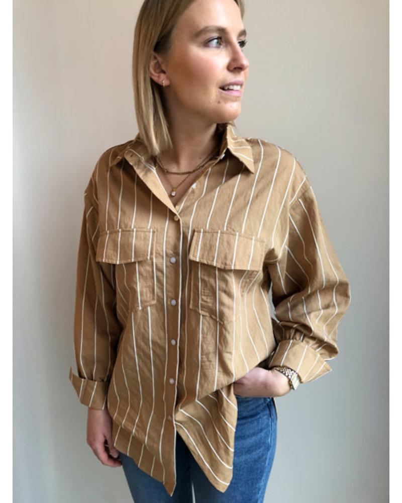 Charlie striped shirt camel