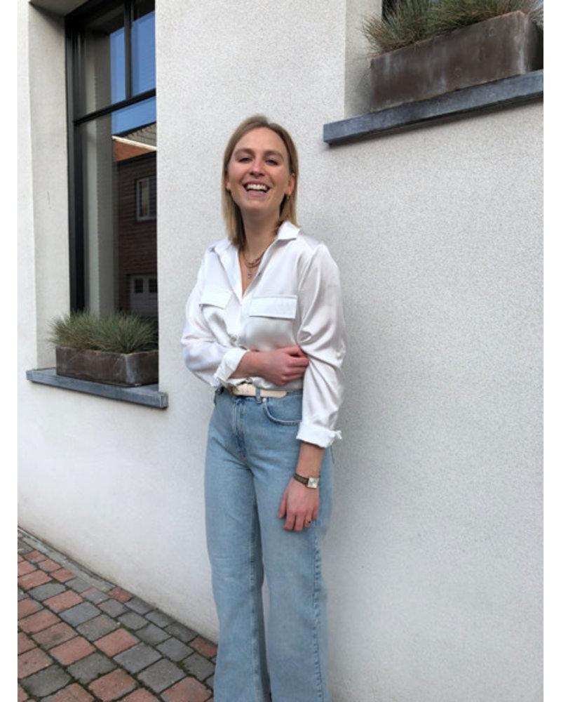 Luna silk blouse white