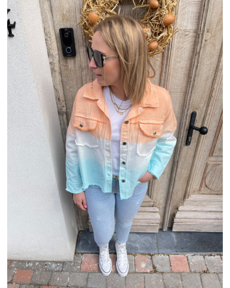 Rosie denim jacket orange/blue