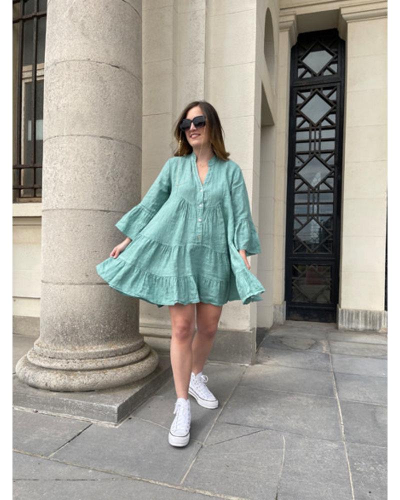 Linen dress green