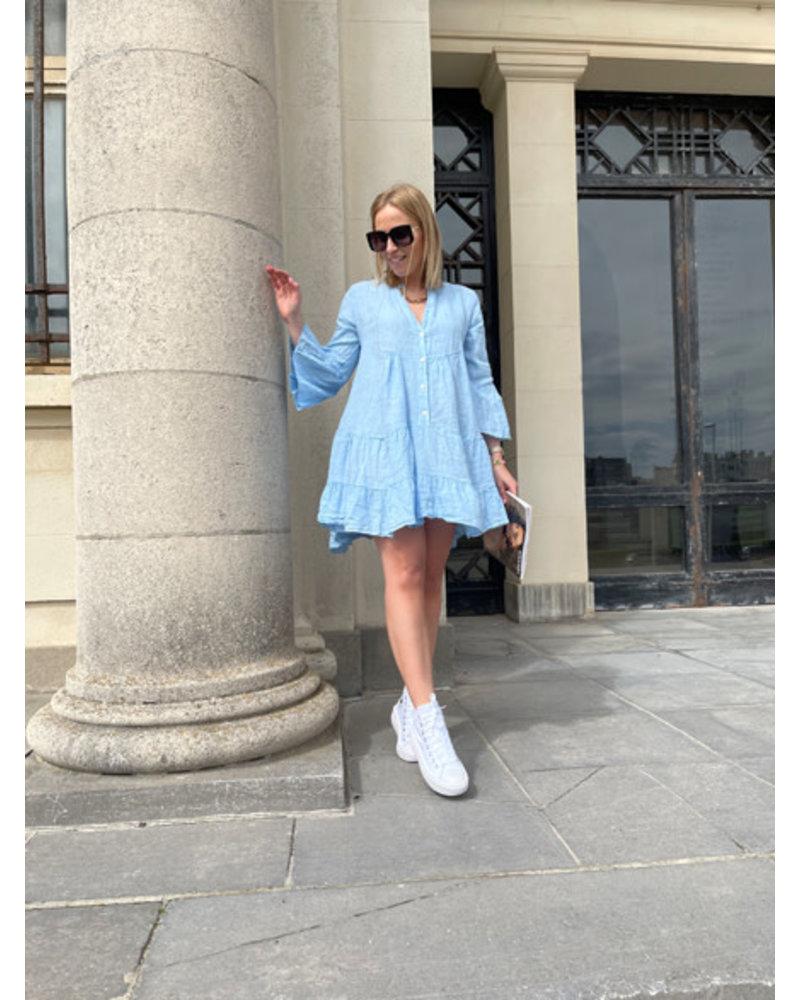 Linen dress blue