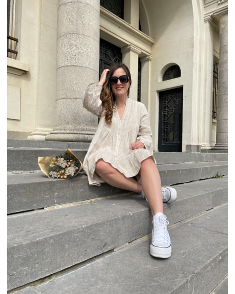 Linen dress beige