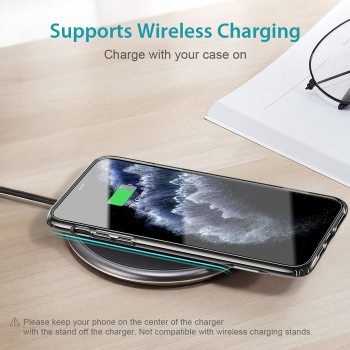 ESR Telefoonhoesje - Apple iPhone 11 Pro Max - Air Shield Boost - Donker Transparant & met standaard