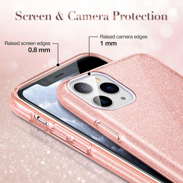ESR Telefoonhoesje - Apple iPhone 11 Pro Max - Makeup Glitter - Coral Roze