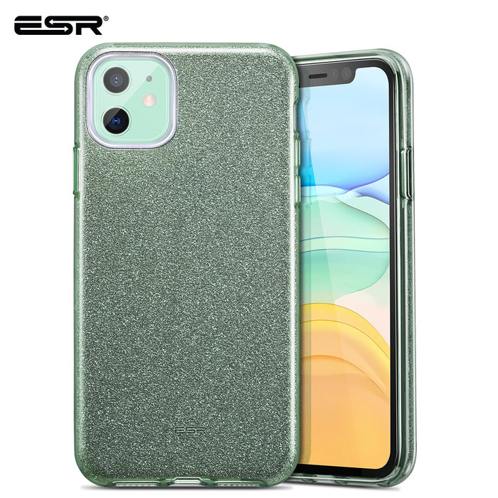 ESR Telefoonhoesje - Apple iPhone 11 - Makeup Glitter - Groen