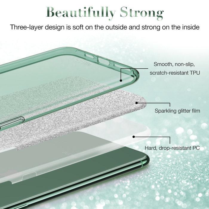 ESR telefoonhoesje - Apple iPhone 11 Pro Max - Makeup Glitter – Groen