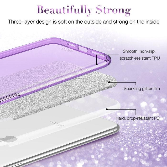 ESR telefoonhoesje - Apple iPhone 11 Pro - Makeup Glitter –Paars