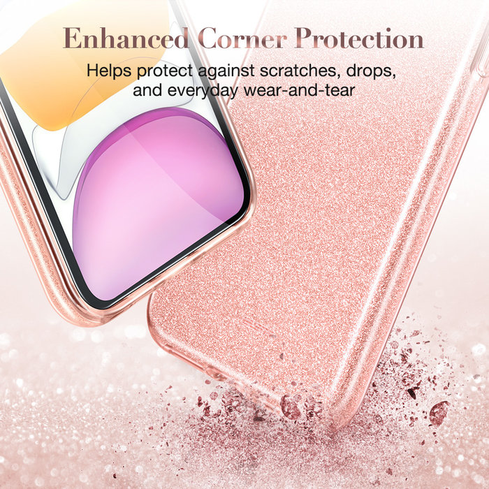 ESR Telefoonhoesje - Apple iPhone 11 - Makeup Glitter - Coral Roze