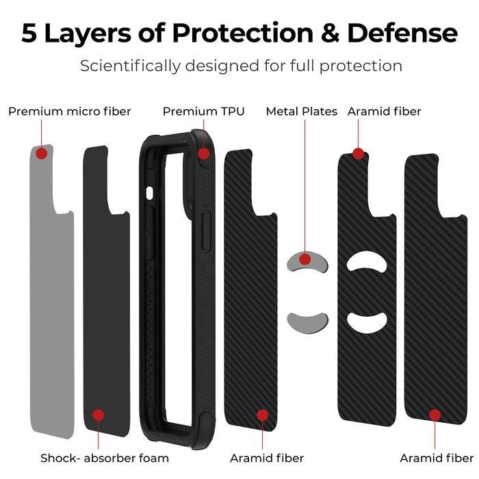 PITAKA MagEz Case Pro - iPhone 11 Pro - Twill-patroon (zwart)