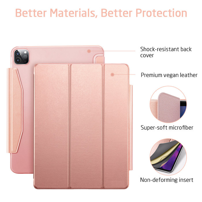 ESR Tablethoes - iPad Pro 12.9 2020 - Yippee Trifold - Rose Gold