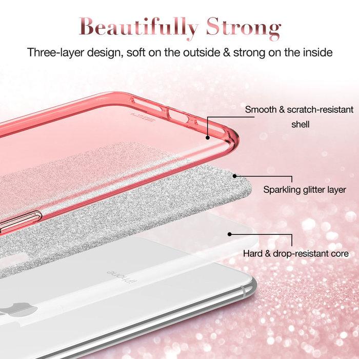 ESR Telefoonhoesje - iPhone SE 2020/8/7 - Makeup Glitter - Rose Gold