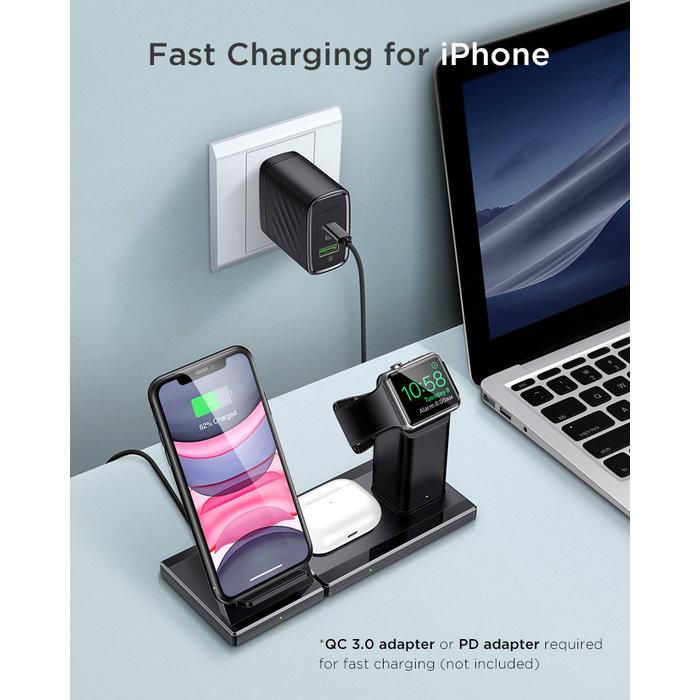 ESR 3-in-1 draadloos Laadstation - Voor Apple, Samsung & Huawei