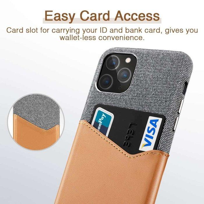 iPhone 11 Pro Max - Canvas / backcover - met pashouder / portemonnee - ESR Metro Wallet – Grijs / Bruin