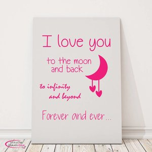Tekst op canvas I love you to the moon and back