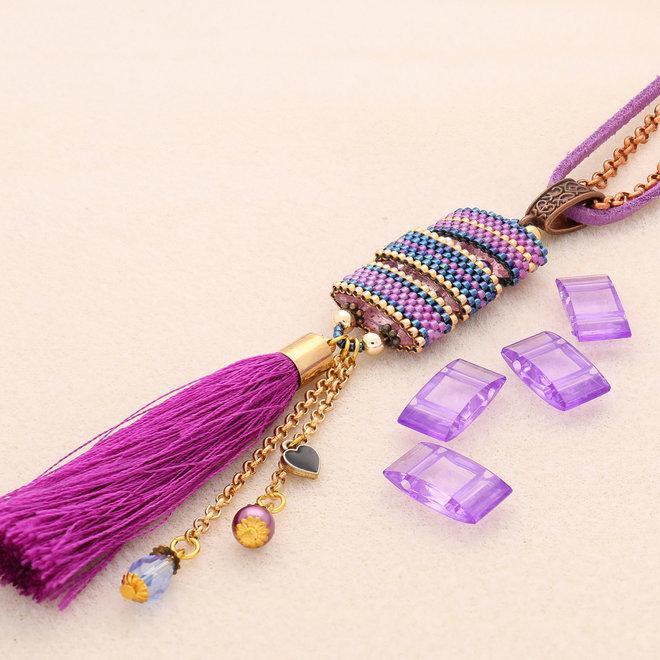 Carrier Bead aus Acryl 18x9 mm - Violet transparent