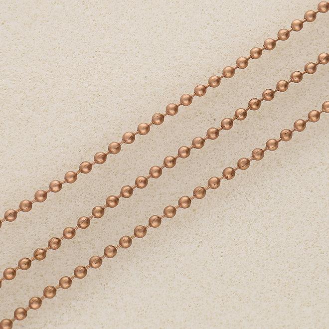 Kugelkette 2 mm – Metalllegierung Farbe Kupfer rot