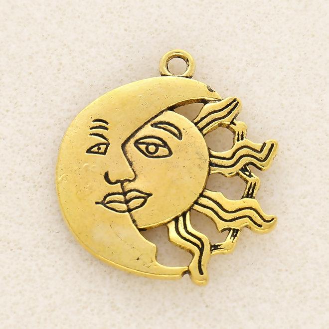 Charm-pendentif Soleil et lune