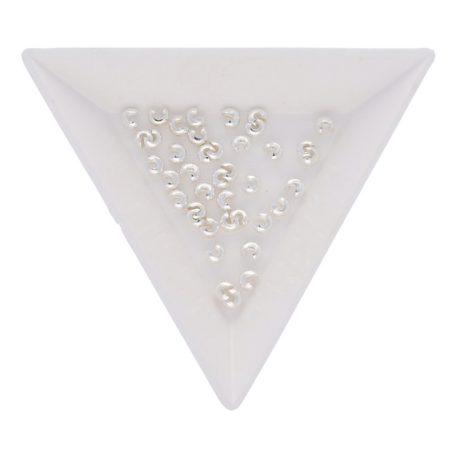 Caches perles à écraser 3 mm - métal argenté