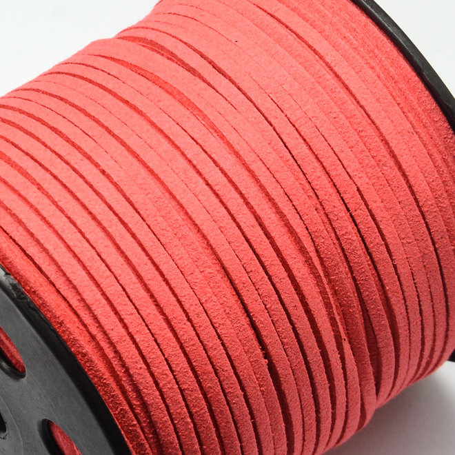 Cordon en cuir suédé synthétique - 3 mm - Corail