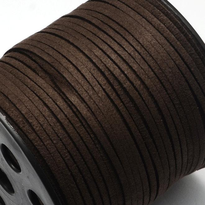 Cordon en cuir suédé synthétique - 3 mm - Marron