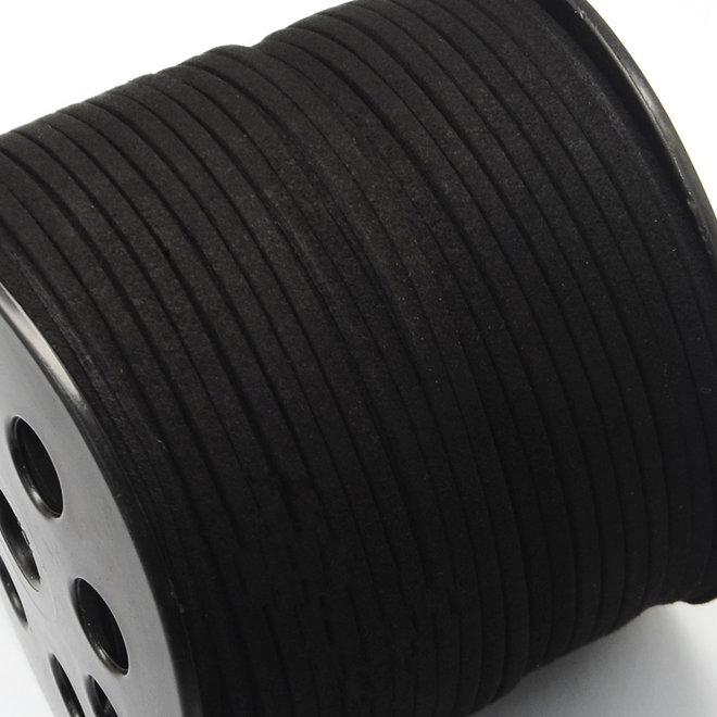 Synthetische Veloursleder Kordel - 3 mm - Schwarz