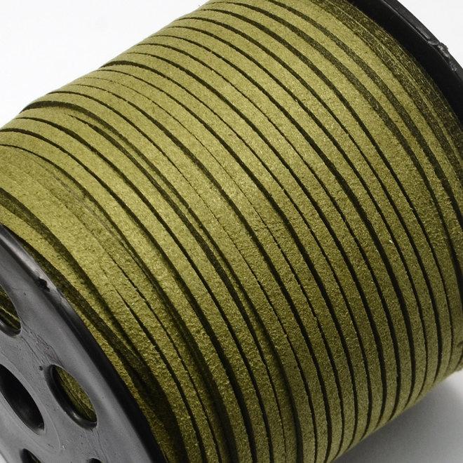 Cordon en cuir suédé synthétique - 3 mm - Vert olive