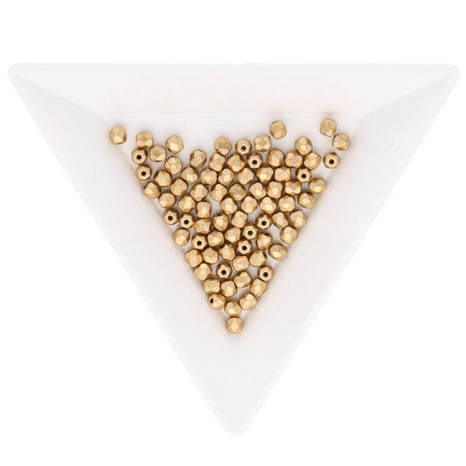 Fire polished 3 mm Glasperlen - Aztec Gold