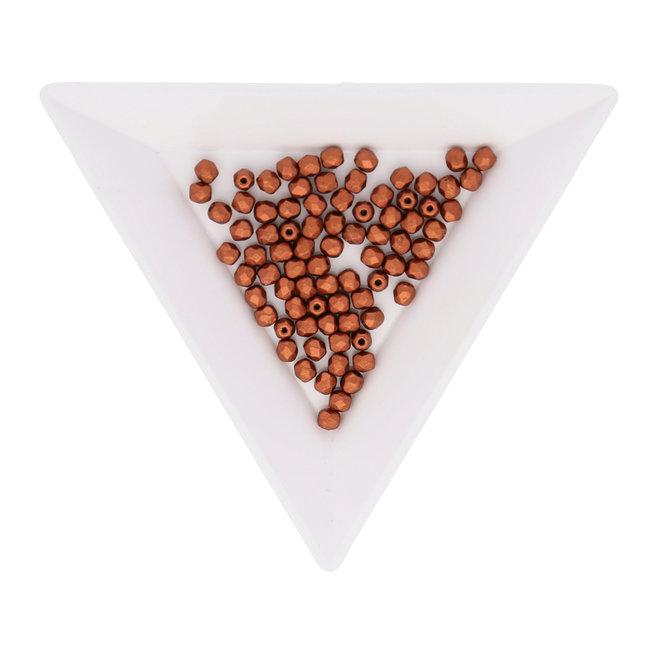 Fire polished 3 mm perles en verre - Copper